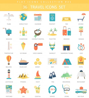 Vector travel color flat icon set. elegant style design.