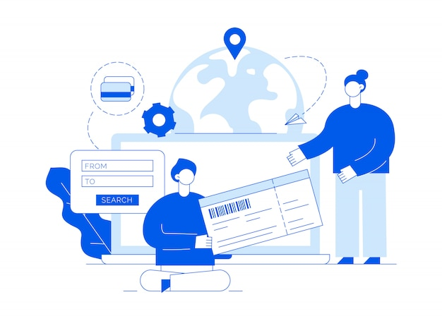 Vector travel illustration with big modern people, man and woman buying tickets online