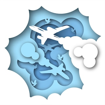 Vector travel in paper art style. digital art