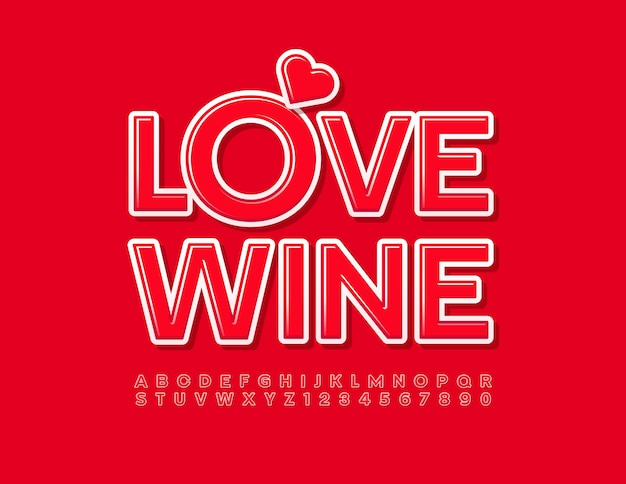 装飾的なハートの明るいフォントの赤いアルファベットの文字と数字でトレンディなカードの愛のワインをベクトルします。