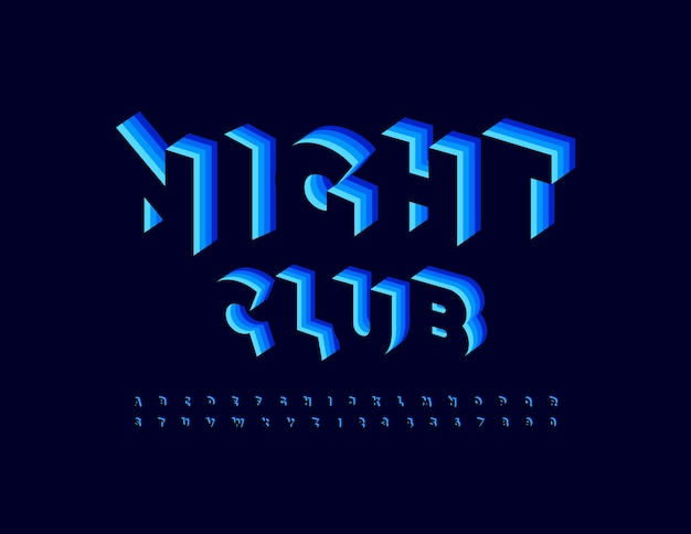 Vector trendy emblem night club blue layered font creative set of 3d alphabet letters and numbers