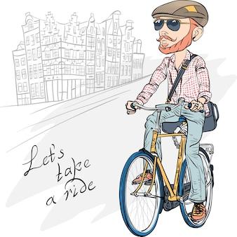 Вектор модный битник бородатый парень на велосипеде милая девушка вектор на скутере в париже