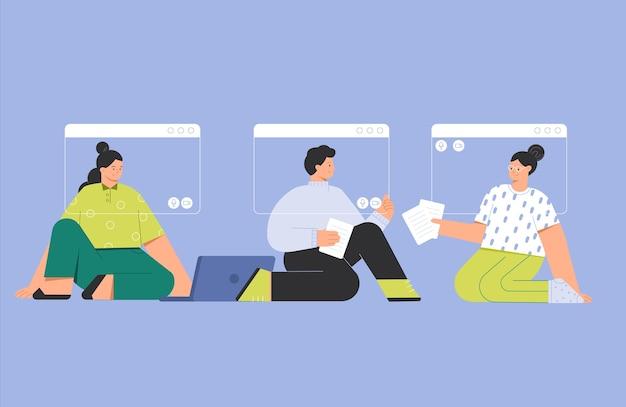 オンラインビデオ会議の呼び出しに会う人々の友人のグループの流行のイラストをベクトルします。