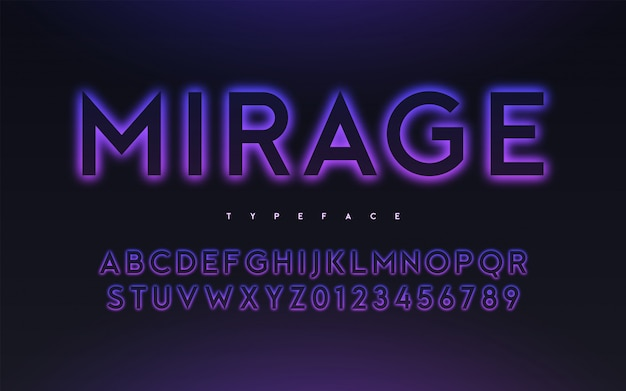 Vector trendy neon light or eclipse style glowing font design