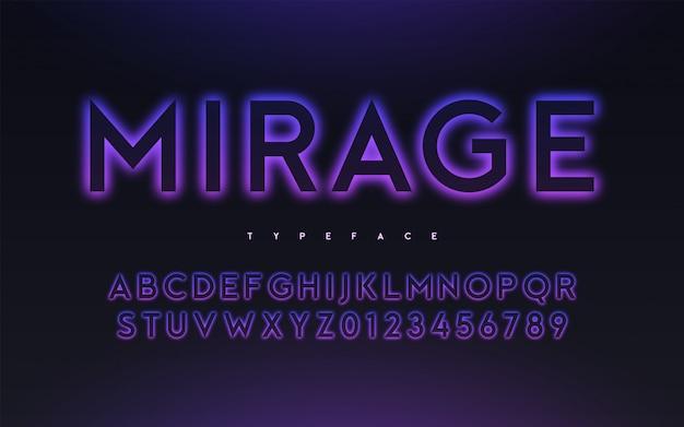 Вектор модный неоновый свет или затмение стиль светящийся дизайн шрифта