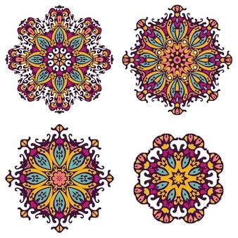 벡터 부족 요소 민족 컬렉션 아즈텍 스타일 부족 세트 만다라 라운드 장식 패턴