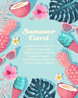 青い背景の上のアイスクリームと果物とベクトル熱帯カード