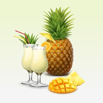 Vector tropical cocktails and fruits garnished with orange slice, pineapple wedge, red straw tubes, yellow umbrella isolated on light background