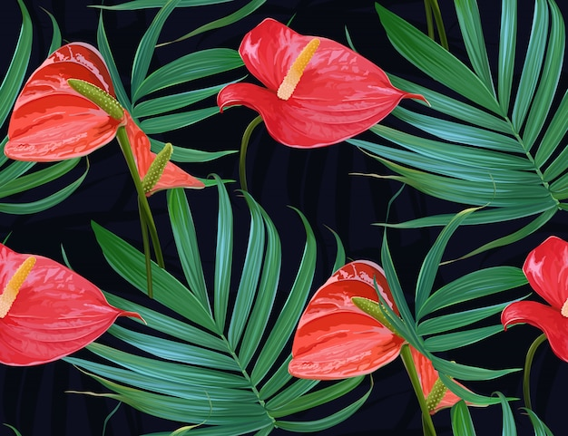 Vector tropical flowers and palm leaves seamless pattern.