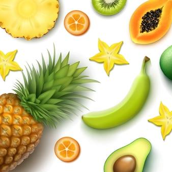 Fondo di frutti tropicali di vettore con ananas intero e mezzo tagliato, kiwi, papaia, banana, carambola, vista dall'alto di kumquat