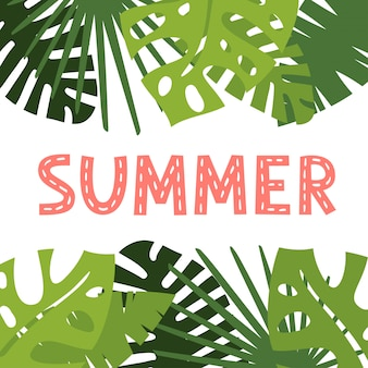 Vector tropical greenery foliage card design