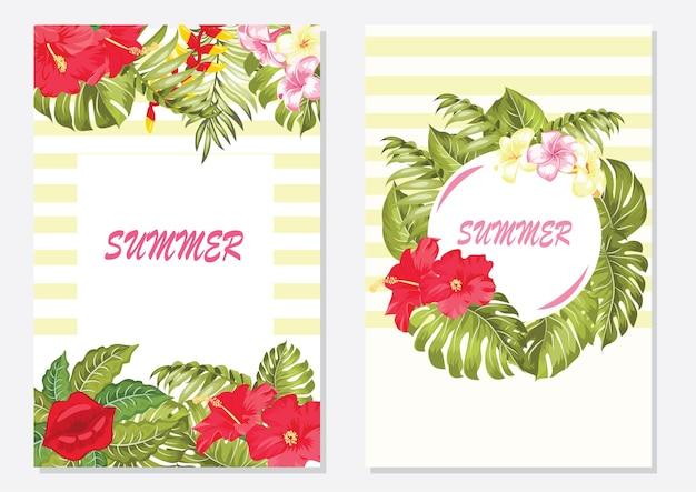 벡터 열 대 잎 배너는 밝은 배경에 설정됩니다. 화장품, 스파, 향수, 건강 관리 제품, 패션, 아로마테라피, 여행사, 여름 파티를 위한 트렌드 색상 현대 식물학 디자인