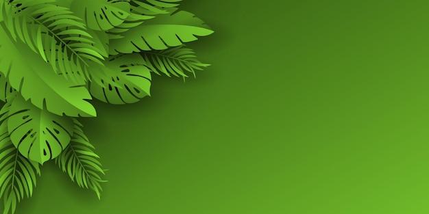 緑の背景に熱帯の葉をベクトルします。プレゼンテーション用のテンプレート。エキゾチックな葉