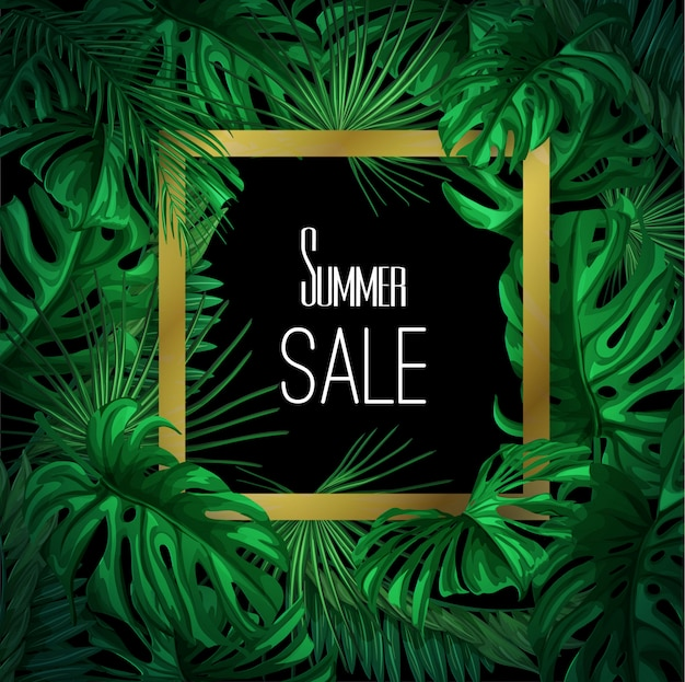 Vector tropical leaves summer sale banner template.