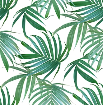 Vector tropical palm leaves seamless pattern.