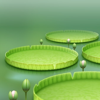 Vector tropical plant giant amazon water lily pad or huge floating lotus victoria amazonica on green blur background