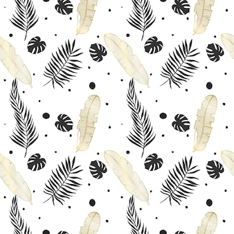 Vector tropical seamless pattern exotic plants in black and gold colors