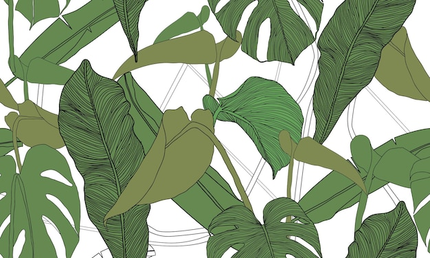 벡터 열 대 원활한 패턴 이국적인 식물
