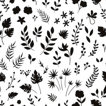 Вектор тропический бесшовный образец с силуэтами цветов, листьев и веток. предпосылка листвы и флористики джунглей. цифровая бумага с экзотическими растениями.