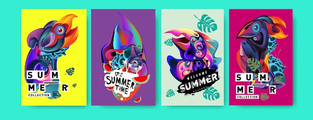 Vector tropical summer poster set with bird head