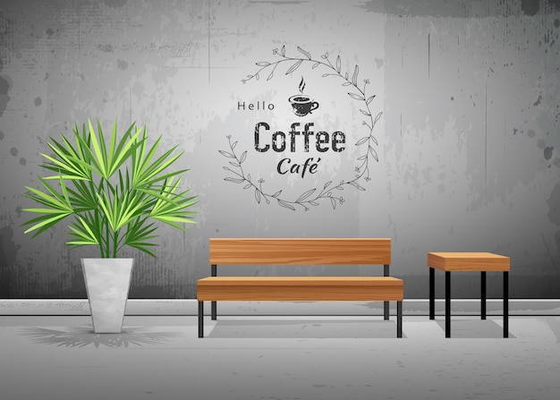 Vector tropical tree in cement pots with wooden chair in coffee cafe wallpaper background illustrati