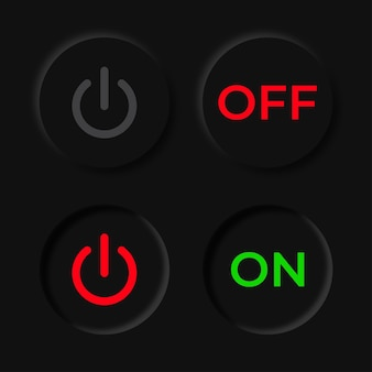 Vector turn off and turn on button in neumorphism style.
