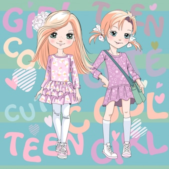Vector two cute redhead girls in pink dresses and sneakers