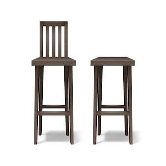 Vector two dark brown wooden bar stools front view isolated on white background