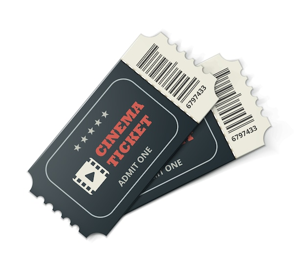 Vector two designed cinema tickets close up top view isolated on white background