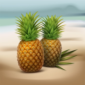 ぼやけた海辺の背景に分離された緑のヤシの葉を持つ2つのパイナップルをベクトルします。