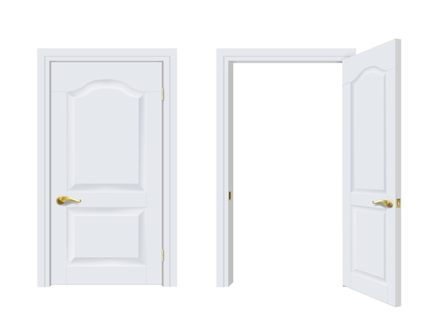 Vector. two white classic doors open and closed.