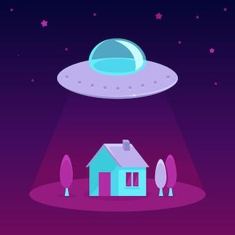 Vector ufo cartoon illustration in flat style