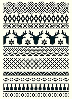 Vector ugly sweater seamless borders