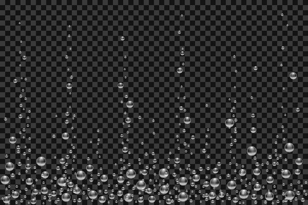 Vector underwater air bubbles texture isolated on black transparent background. white fizzing bubbles in aquarium, champagne or effervescent drink. 3d transparent realistic oxygen gas bubbles.