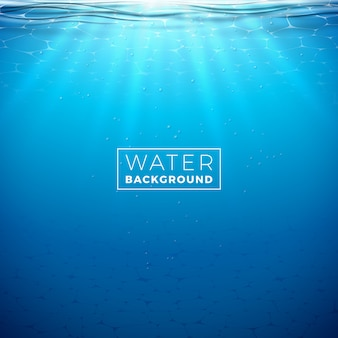 Vector underwater blue ocean background design template
