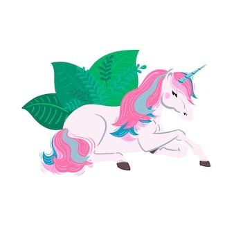 벡터 유니콘 그림 분홍색과 파란색 머리를 가진 꿈꾸는 듯한 흰색 유니콘 녹색 잎을 가진 유니콘
