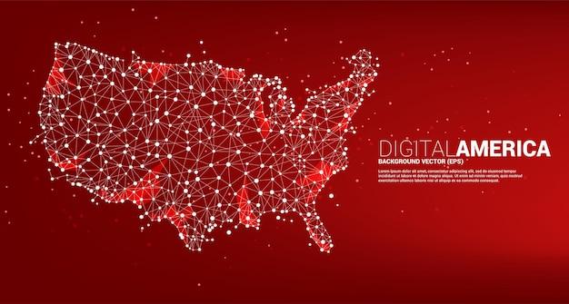 ポリゴンドット接続線から米国の地図をベクトルします。アメリカのデジタルネットワーク接続の概念。