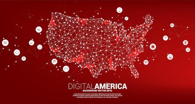 다각형 점의 벡터 미국 지도는 디지털 라이프스타일 아이콘과 선을 연결합니다. 미국 디지털 네트워크 연결에 대한 개념입니다.