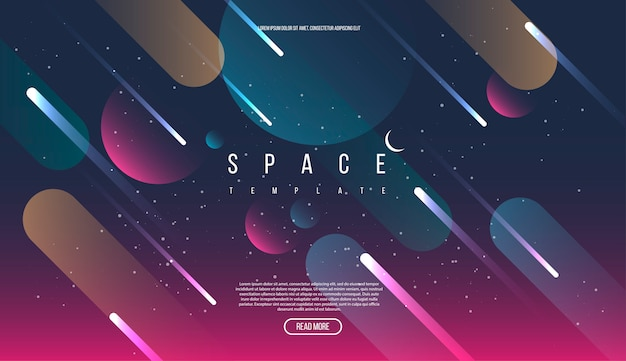 Vector universe background with space elements.