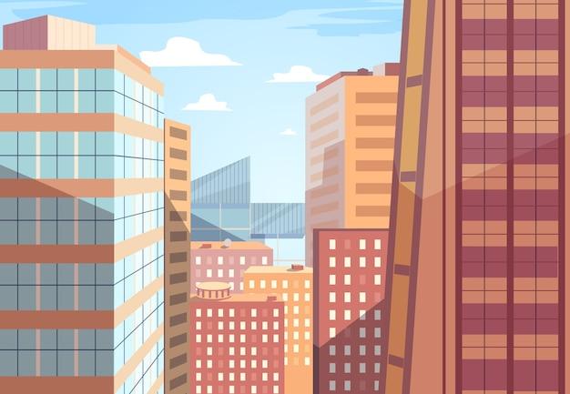 ベクトル都市景観。窓と屋根、ファサードの太陽光線、デザインの町と都市