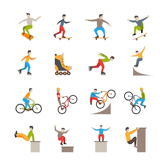 Vector urban sport  icons with people