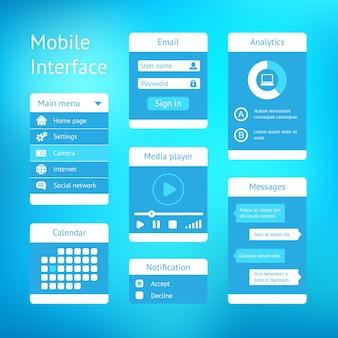 モバイルアプリのベクトルユーザーインターフェイステンプレートデザイン