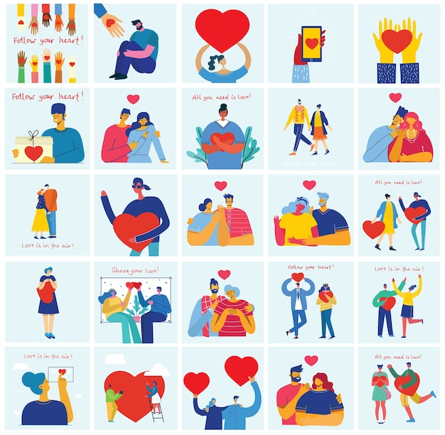 Vector valentine illustration cards in a flat style of happy couples in love