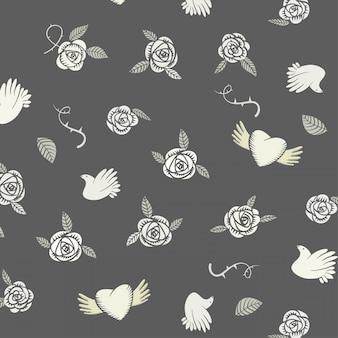벡터 발렌타인 원활한 흑백 빛과 흰색 패턴