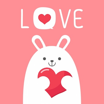 Vector valentineâ´s day card with rabbit bunny