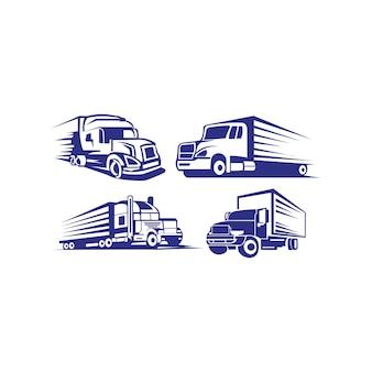 トラックトレーラーロゴ輸送 - インスピレーションvector van