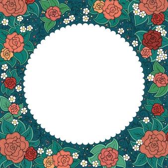 スパイラル、渦巻き、落書きのベクトルの色とりどりの花の丸い装飾用フレーム
