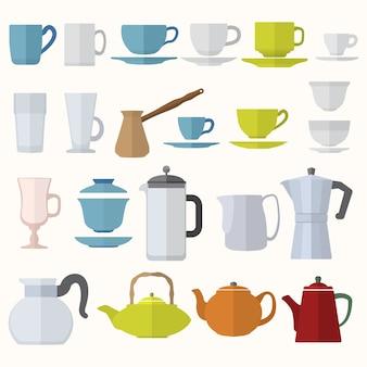 Vector various color flat design coffee tea cups and pots set