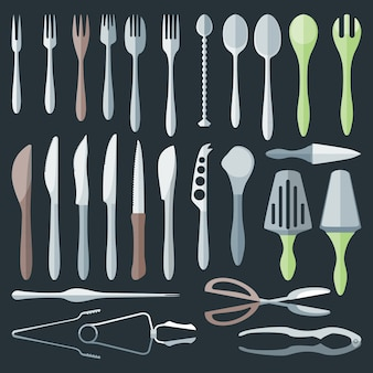 Vector various dining cutlery flat style set