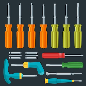Vector various screwdriver flat style set
